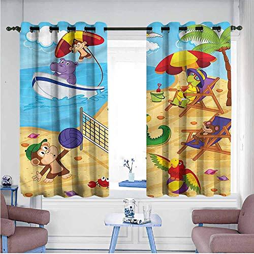 Mdxizc Bedroom Balcony Living Room Curtain Kids Cartoon Animals on Beach Breathability W72 xL45 Suitable for Bedroom,Living,Room,Study, etc.