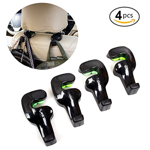 Car Back Seat Headrest Hanger,Universal Vehicle Headrest Hanger Holder Hook Organizers for Plastic Bags Handbags Purse Cloth Grocery by B-Sin(Black-Set of - Fit Wetsuit Guide