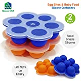 Silicone Egg Bites Molds for Instant Pot Accessories for 5,6,8 qt Pressure Cooker & Reusable Baby Food Storage Container w/Silicone Clip-On Lid – 7 x 2.5oz Easy-out Portions Also use as Freezer Tray