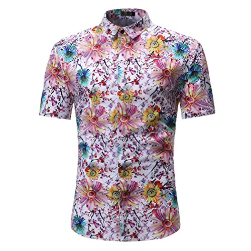 GREFER Man Summer Retro Floral Printed Blouse Casual Short Sleeve Slim Shirts Tops (M, (White Gold Salmon)