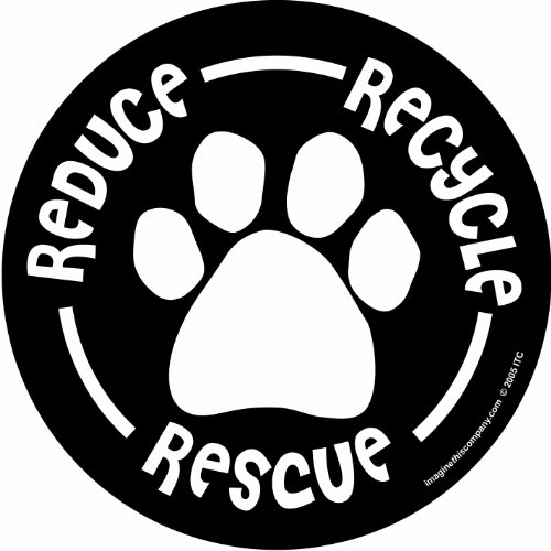 Imagine This 4-3/4-Inch by 4-3/4-Inch Car Magnet Social Issues Circle, Reduce/Recycle/Rescue, Black