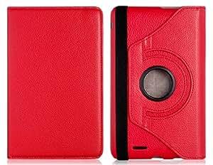 360 grados que giran la caja de cuero del tirón Faux Bi-Fold para Asus Fonepad ME371 (rojo)
