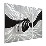 Pure Art Silver Worm Hole - Abstract Metal Wall Art Decor of 3 Panels - Black and Silver Hanging Decorative Sculpture - Modern Design of 32'' x 24''
