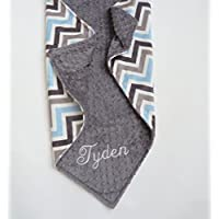Personalize Double Minky Baby Blanket - Baby Blue/ Gray/White Chevron Minky Front, You Choose SOLID COLOR minky