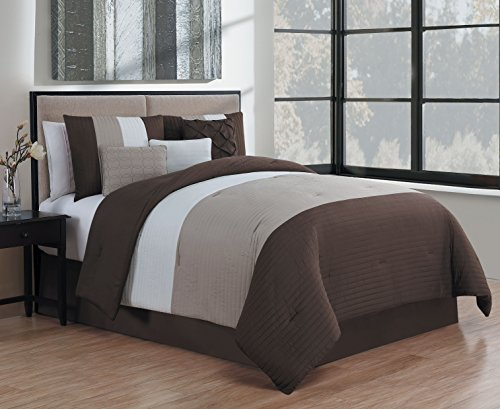 Avondale Manor Manchester 7 Piece Comforter Set Queen Brown/Taupe/Ivory - Manor Comforter Set