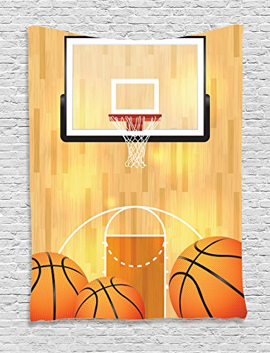 Ambesonne Sports Decor Collection, Basketball Court Ball and Hoop Madness Rim Court Parquet Hardwood Picture Print, Bedroom Living Room Dorm Wall Hanging Tapestry, Ivory Orange (Hoop Decoration)