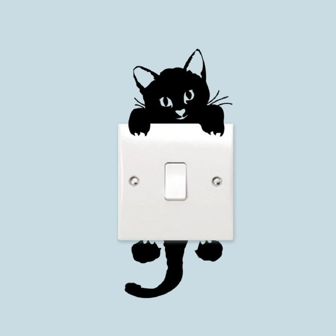 Removable Cat Light Switch Art Vinyl Quote Wall Stickers Mural Home Decor Decal