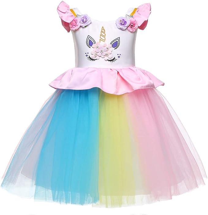 LZH Niña Disfraz de Unicornio Vestido de Princesa Tutu Disfraces ...