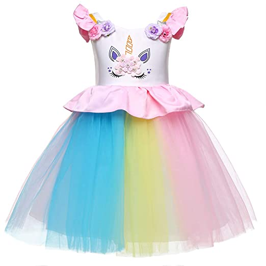 f8dc71b4843 Image Unavailable. Image not available for. Color  LZH Baby Girls Unicorn  Dress Birthday Pageant Princess Tulle Tutu Costumes Rainbow ...