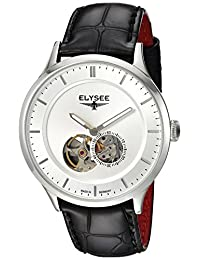 ELYSEE Men's 'Classic-Edition' Automatic Stainless Steel and Leather Casual Watch, Color:Black (Model: 15100.0)