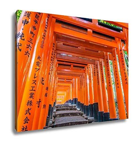 Ashley Canvas Red Tori Gate at Fushimi Inari Shrine Temple in Kyoto Japan Tokyo Red Tori Gate at Fushimi Inari Shrine Temple in Kyoto Japan 16x20