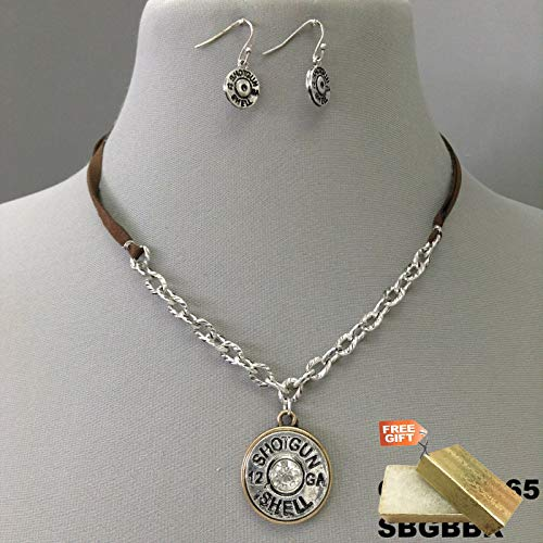 Faux Leather Silver Finish Rhinestone Shotgun Shell Pendant Necklace & Earrings Set For Women + Gold Cotton Filled Gift Box for Free