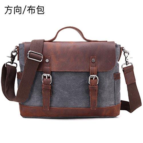 Bolso Canvas de Retro 28cm hombro Tote 37cm Bag Bolsa grandes 11cm Gris lona del Curry Messenger zSqHzrnxw