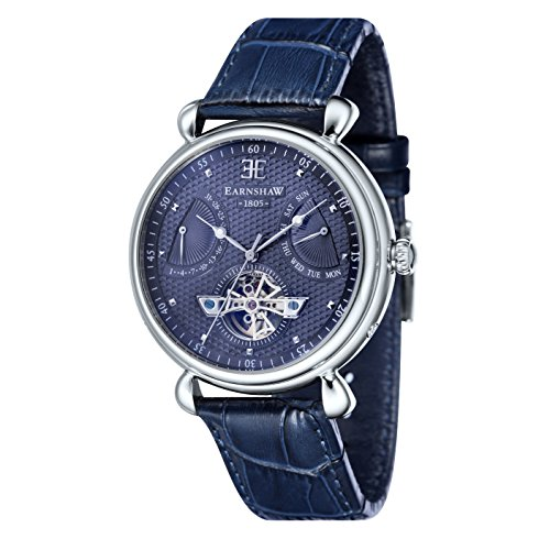 Thomas Earnshaw Men's 'GRAND CALENDAR' Quartz Stainless Steel and Leather Dress Watch, Color:Blue (Model: ES-8046-06)