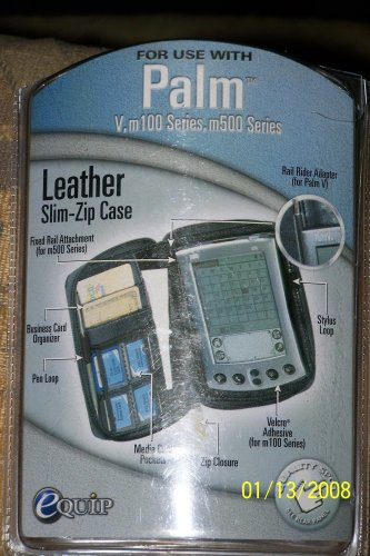 Slim-Zipper Leather Case For PALM V, m100, m500 Series WITH MEDIA (Palm Leather Pda)