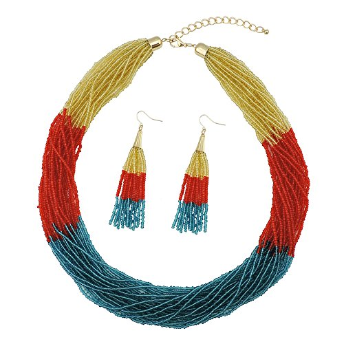 Beaded Yellow Jewelry Set - Bocar Multi Layer Beaded Statement Necklace Set Mix Strand Necklace and earrings for Women Gift (NK-10459-yellow+red orange+blue)