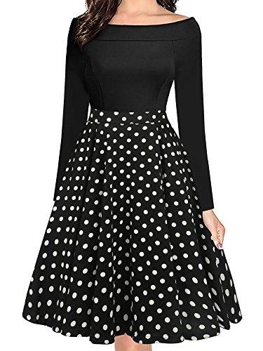 oxiuly Women's Vintage Polka Dot Slash Neck Long Sleeve Casual Pockets Swing Dress OX232 (L, Black dot 9) -