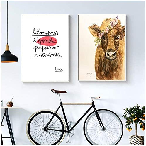 Zhaoyangeng 牛キャンバス絵画北欧ポスターウォールアートプリント装飾動物写真リビングルーム装飾インテリア-40×60センチ×2フレームなし