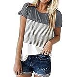 VIASA_ Women Short Sleeve Round Neck Triple Color Block Stripe T-Shirt Casual Blouse (Gray, L)