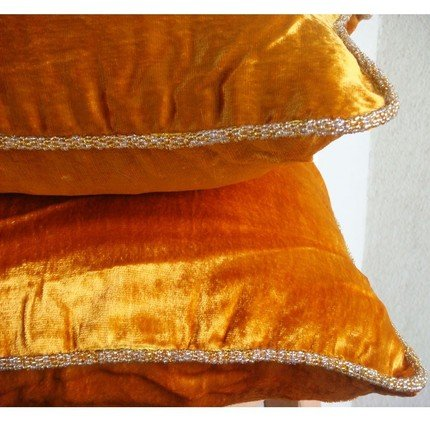 Luxury 22×22 Pillow Case, Orange Yellow Pillows Cover, Solid Color Beaded Cord Pillowcases, Velvet Square Throw Pillows Cover, Solid Modern Pillows …