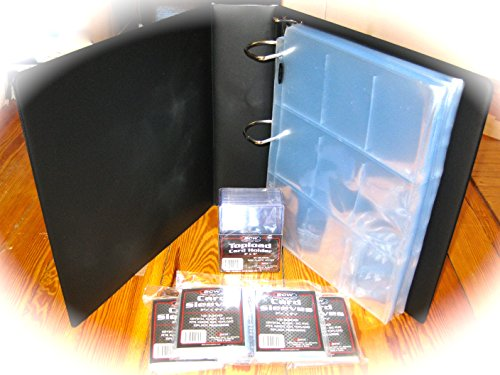 """Gaming - Trading - Sports Card Collector Kit - 3"""" Album - 50 Ct. 9 Pocket Pages - 25 Count 3 X 4 Top Load Card Holders - 500 Soft Card - Penny Sleeves"""