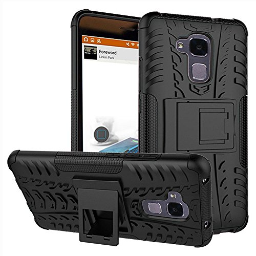 Huawei Honor 5c Case, Honor 7 Lite Cover, Dual Layer Protection Shockproof Hybrid Rugged Case Hard Shell Cover with Kickstand for 5.2'' Huawei Honor 5c, Honor 7 Lite [Not fit Honor 7] (Black)