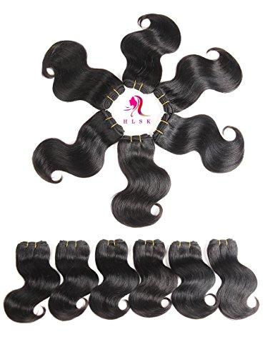 6 Short Body (HLSK Unprocessed Brazilian Body Wave Virgin Hair Bundles, 6 Bundle, Brazilian Remy Human Hair Weave Hair Extensions Natural Color, 50g?pc (8 8 8 8 8 8) … …)