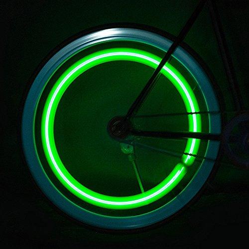 - Glumes Bike Wheel Lights, LED Waterproof Bicycle Spoke Light 4 LED 3 Changes Modes Bicycle Rim Tire Lights for Mountain Bike/Road Bikes/BMX Bike/Hybrid Bike/Folding Bike Good Gift (Green)