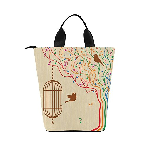 (InterestPrint Birdcage on The Musical Tree Nylon Cylinder Lunch Bag Tote Shopping Handbag, Music Note Reusable Large Lunchbox Grocery Bag)