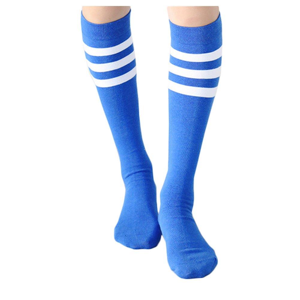 Blancho 2 Paires Coton Football/Basket Chaussettes athlétique Couleur Stripes