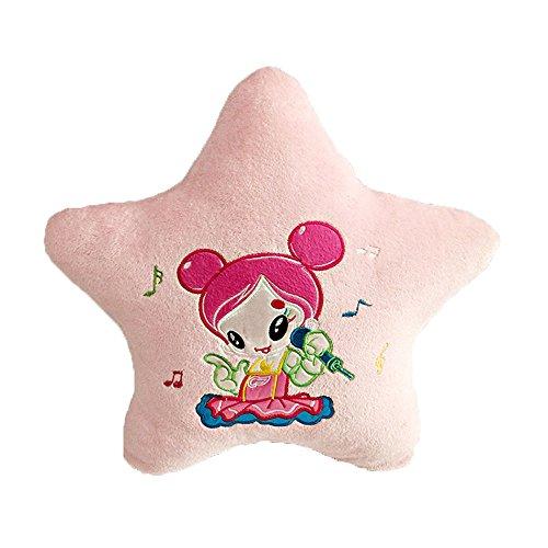 Twinkle Little Star Plush Toy Cute Cartoon Girl Cushion Soft Velour Stars Design Decorative Pink Throw Pillow