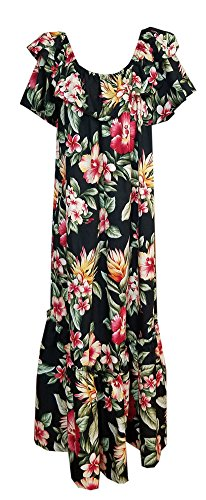 Jade Fashions Inc. Women Hawaiian Long Double Ruffle Black Colorful Muumuu-X-Large (Ruffle Muumuu)