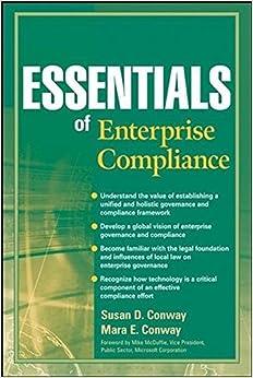 Essentials of Enterprise Compliance (Essentials Series) by Susan D. Conway (2008-10-06)