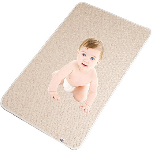 100% Natural Colored Cotton Waterproof Sheet,Baby Crib Pee Pads Or Incontinence Bed Pad Pack N Play Mattress Protector For Child Adults And Pet (M) by Babyhood