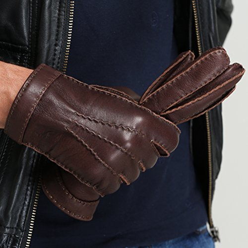 CHULRITA Mens Deerskin Leather Drivers Gloves with Wool Lining, Brown, Large by CHULRITA (Image #3)