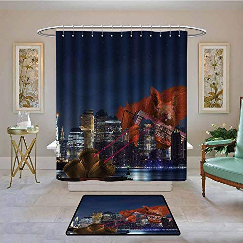Waterproof Fabric Shower Curtain Animal,Cartoon like New York City Scenery with a Big Laser Eyed Cute Squirrel Image Print,Multicolor,Machine Washable - Shower Hooks are Included 94