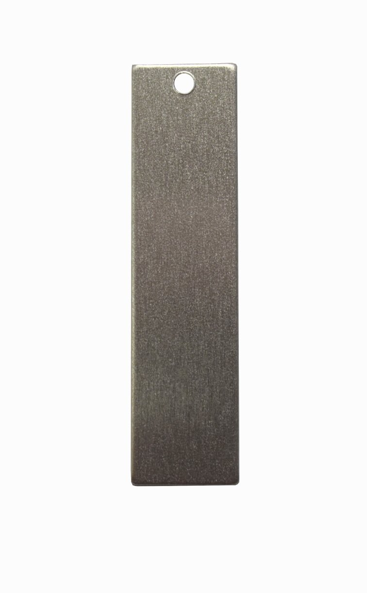 RMP Stamping Blanks, 1/2 Inch x 2 Inch Rectangle With One Hole, Aluminum .063 Inch (14 Gauge) PVC Coating on both sides - 50 Pack Rose Metal Products