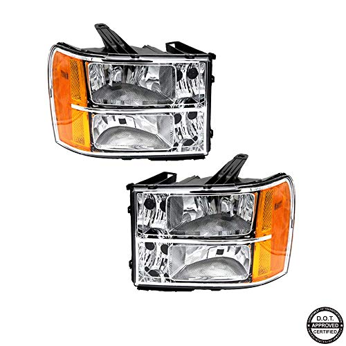 (Replacement Headlight Assembly GGMSR07-A2 with Chromed Housing Amber Reflector Clear Lens for GMC Sierra 1500 2500HD 3500HD)