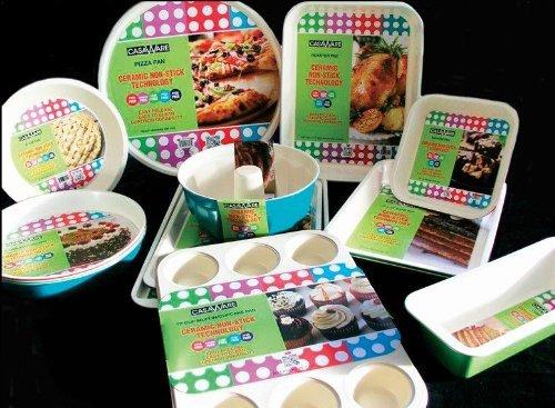 casaWare Ceramic Coated Non-Stick 12-Inch Pizza Pan (Cream/Blue) by casaWare (Image #3)