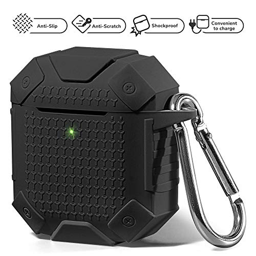 Airpods Case, GMYLE Silicone Luxury Heavy Duty Armor Defender Protective Shockproof Wireless Charging Airpod Cover Skin with Keychain Accessory kit Set Compatible for Apple AirPods 1 & 2, Black