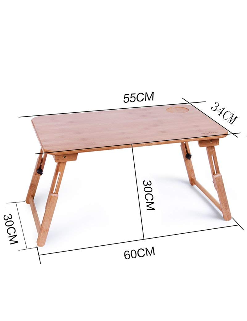 GUI Table-Bamboo Foldable with Lift Laptop Tables Bed Small Desk Learning Desk,Medium