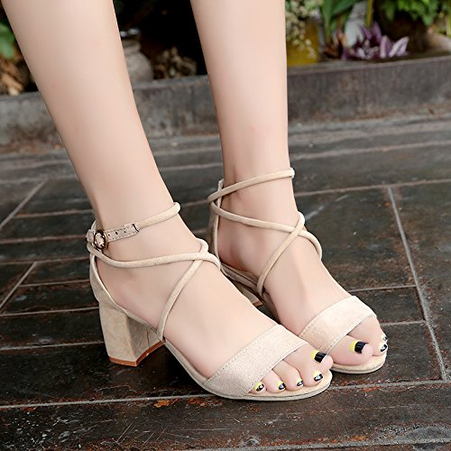 sandali scarpe comode Estate tacco a tacco cinghia trasversale cinturino lady alla caviglia YMFIE con alta punta punta square 0wqA6OO