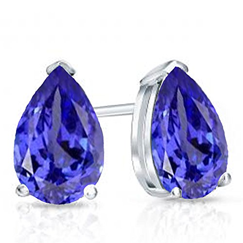 (Dazzlingrock Collection 14K 6X4 MM Each Pear Tanzanite Ladies Solitaire Stud Earrings, White Gold)