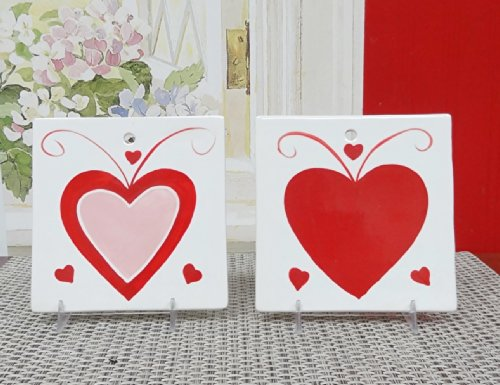Tuscany Valentine Heart Collection Hand Painted Wall Decoration Plaques, 2-Pieces Set, 82224 by ACK (Dinerware Collection)