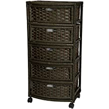Oriental Furniture Simple Contemporary Modern Practical Affordable Lingerie, 37-Inch Tall 5 Drawer Natural Fiber Storage Chest Cabinet on Casters, Black