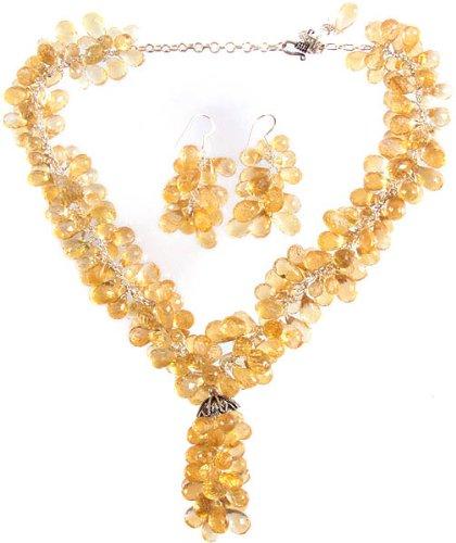 Grano fino citrino collar con colgante en forma de gotas con cubiertos de Juego de pendientes de - plata de ley: Amazon.es: Joyería
