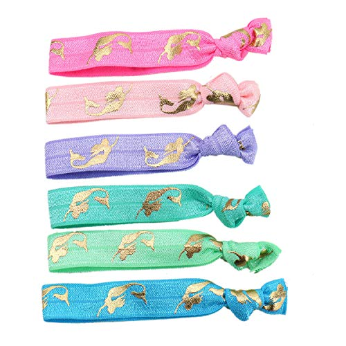 The Little Mermaid Party Favors (JETEHO 42 PCS Elastic Mermaid Hair Ties Party Favors Crease Free Knotted Bow Hair Tie Set Ponytail Holder Hair)