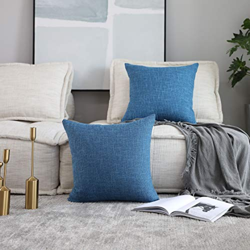Kevin Textile Pack of 2 Decorative 2 Tone Linen Pillow Covers Cushion Cover for Chair/Sofa/Bed/Car, 16 x 16 Inches, Navy Blue