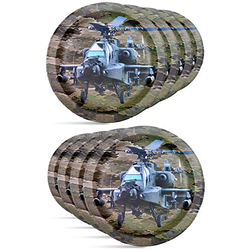 Havercamp Army Apache Helicopter Paper Plates - Authentic Camouflage Pattern Party Plates Set for Army, Gamer, Birthday Party Supplies - 8 Paper Plates Pack 9