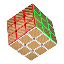 Puzzle Cube, Haip 3x3x3 Carbon Fiber Sticker Speed Smooth Magic Cube Puzzle Cube Gold (Base Holder/ Included)